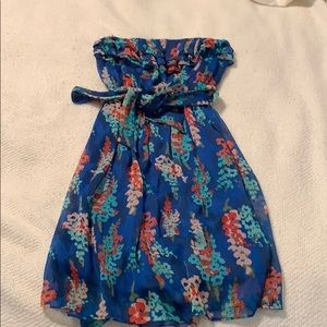 Blue dress with flower accents